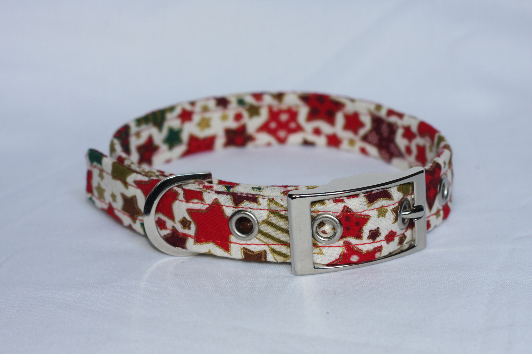 Red Dog Collar With Christmas Stars