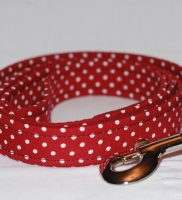 wine dog lead with small white spots