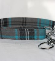 Turquoise And Grey Tartan Half Check Dog Collar