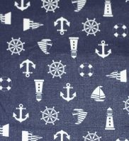 Fabric - blue with white anchors and boats