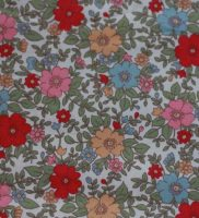 fabric-red and pink flowers
