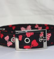 Red Bows On Black Dog
