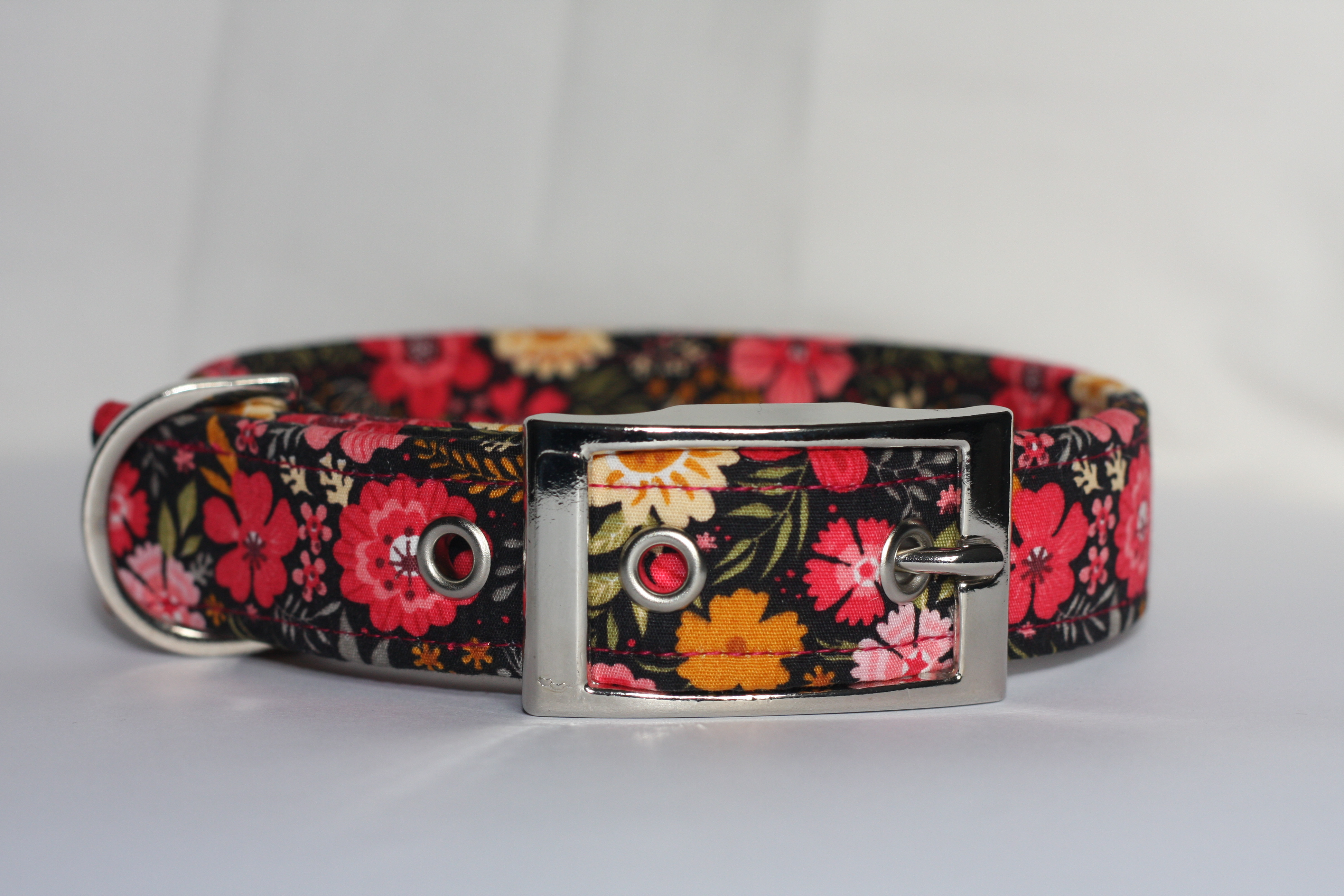 Pink And Yellow Flowers Dog Collar Fur N Fabric