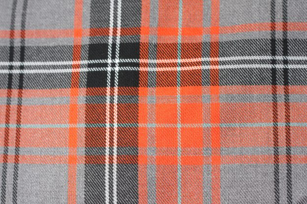 fabric - orange and grey tartan