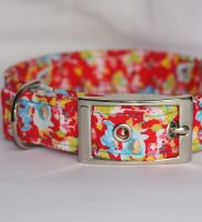 blue flowers on red Dog Collar