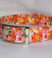 pink flowers on orange dog collar