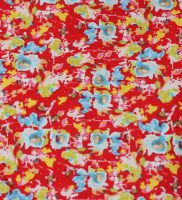 Fabric - blue flowers on red