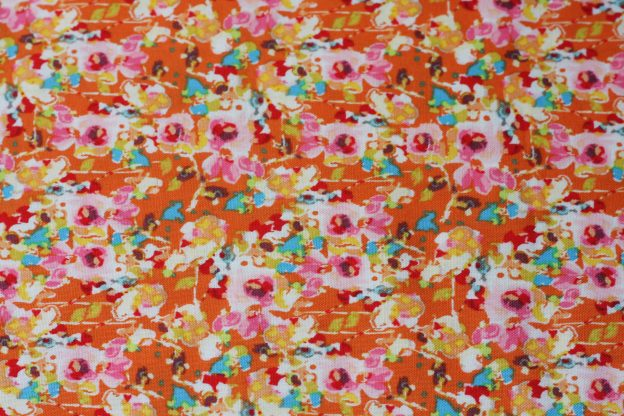 fabric-pink flowers on orange