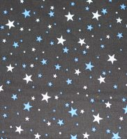 Fabric - blue tiny stars on black