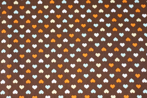 Fabric - Hearts On Brown