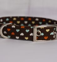 Hearts On Brown Dog Collar