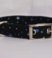 Blue Tiny Stars On Black Dog Collar