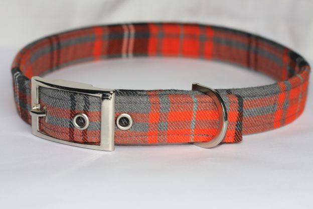 Orange And Grey Tartan Dog Collar